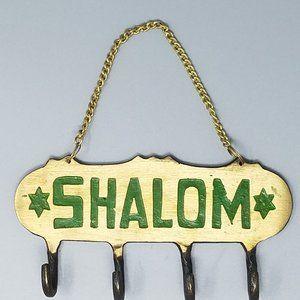 NEW - Vintage Brass Shalom Key Holder
